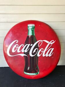 "48"" Coca Cola Button Vintage Original Porcelain Metal Rare Coke Advertising Sign"