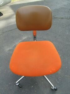 Steelcase Office Chair Executive Desk Brown Orange Swivel Rolling Made Usa Mcm