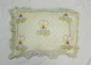 Vintage Art Deco Yellow Purple Embroidered Pansy Flower Pillow Case