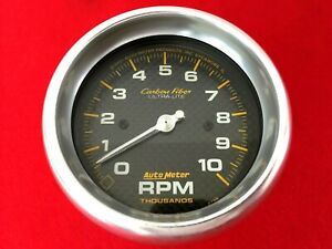 Autometer 4798 Carbon Fiber 3 3 8 Tachometer 10 000 Rpm Tach Gauge Hot Rod
