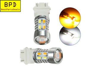 2 Piece Set 3157 Dual Color Amber White Led Turn Signal Switchback Lights Bulbs