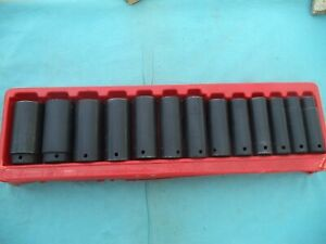 Large Snap on 1 2 Dr Deep Impact Socket Set 313sima 1 2 1 1 4 13 Pc W tray