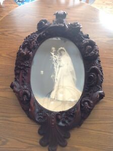 Antique Carved Oval Large Wooden Frame With Wedding Photo 38 Inches Tall