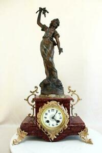 French Clock Statue J Guilliere 1900 Art Nouveau Ad Mougin Movement