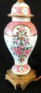 Antique French Porcelain Hand Painted Table Lamp 18 Tall No Shade