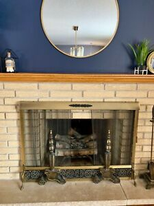 Mcm Vintage Brass Fireplace Surround Screen Andirons And Tool Set