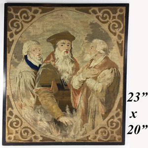 Antique Victorian Era Needlepoint Tapestry Panel The Philosophers No Frame 23