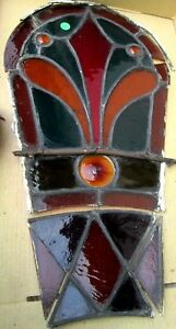 Rare Antique Victorian Stained Glass Window W Jewels Bull S Eye Estate 338