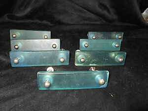7 Vintage Acrylic Lucite Cabinet Furniture Drawer Pulls Blue Green