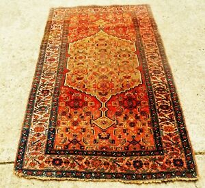Antique Gold Beige Bijar Tribal Persian Oriental Rug Size 4 3 X 6 9