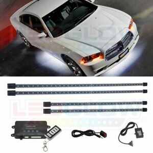Ledglow 4pc Wireless White Led Neon Underbody Undercar Light Kit W Remote
