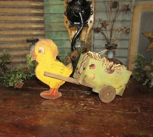 Primitive Antique Vtg Style Spring Easter Chick Baby Chicken Wooden Wagon Cart