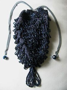 Antique Art Deco Navy Blue Crochet Peacock Blue Carnival Bead Flapper Purse 260