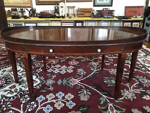 Beautiful Antique Mersman Solid Mahogany Inlaid Oval Coffee Table W Drawer 6964