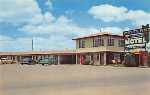 Sonora TX Western Motel Telephone Booth Coca-Cola Machine Old Cars Postcard