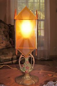 Vtg Art Deco Metal Glass Panels Chandelier Fixture Table Lamp 1930 S