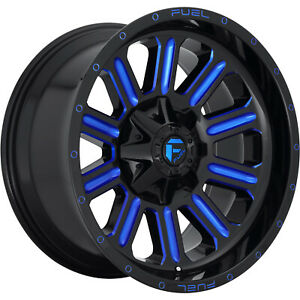20x10 Black Blue Fuel Hardline 6x135 6x5 5 18 Wheels Open Country Mt 35 Tires
