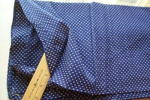 Vtg 40 S Tufted Double Dotted Swiss Doll Dress Cotton Fabric Navy Blue White