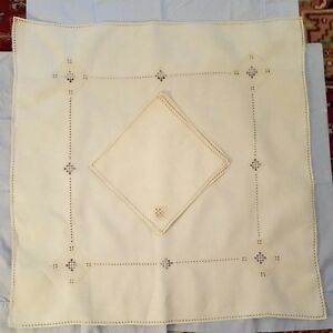 Vtg Italian Linen Drawnwork Embroidery Needle Lace Luncheon Cloth 4 Napkins