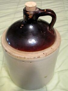 Western Stoneware Whiskey Jug With Cork One Gallon Size Antique