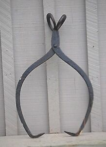 Old Vintage Antique Large Ice Block Tongs Tool Primitive Rustic Farmhouse Cabin