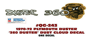 Qg 243 1970 1972 Plymouth Duster Duster 360 Cloud Tail Panel Decal One