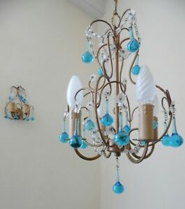Vintage Italian Murano Beaded Chandelier 4 Lights Two Sconces Murano Blue Drops