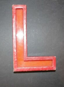 Awesome Vintage 1940 50s Distressed Cinema Letter L Metal Perspex 20cm Tall