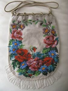 Antique Victorian Crochet Red Blue Floral Micro Bead Drawstring Fringe Purse