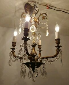 Vtg Antique Ornate Chandelier 4 Light Fixture Spanish Brass Crystals