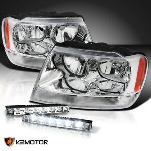 99 04 Jeep Grand Cherokee Clear Headlights Pair 0 6w 6 led Drl 6000k Fog Lamps