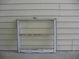 Vintage 2 Pane White Wood Window 32 X 28 Glass Has Been Removed