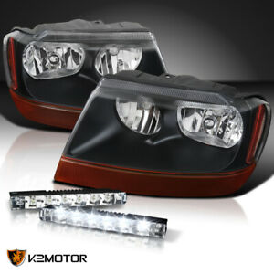 99 04 Jeep Grand Cherokee Black Headlights Pair 0 6w 6 led Drl 6000k Fog Lamps