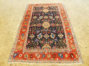 Collectible Antique Bijar Interesting Blue Persian Oriental Rug Size 4 3 X 6 6