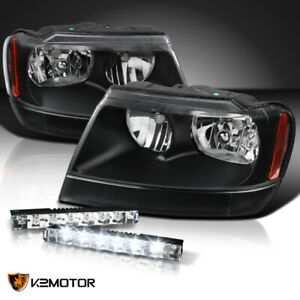 99 04 Jeep Grand Cherokee Black Clear Headlights 0 6w 6 led Drl 6000k Fog Lamps