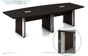 12 Foot Conference Table Has Legs With Gray Metal Trim In Espresso Or Walnut