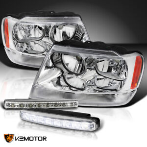 99 04 Jeep Grand Cherokee Clear Headlights Pair 4w 8 led Bumper Drl Fog Lamps