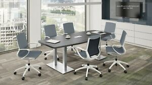 8 Foot Modern Conference Table With Grommet And Metal Legs White And 5 Colors