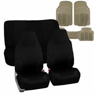 Black Neoprene Seat Covers Universal W Beige All Weather Floor Mats For Car