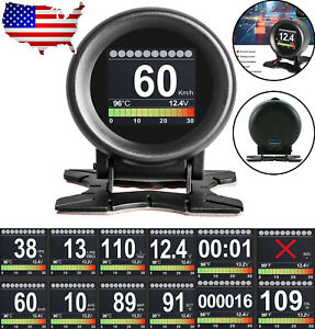 Autool X60 Digital Turbo Boost Pressure Meter Speed Alarm Oil Water Temp Gauge