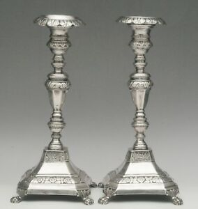 19th Century Porto Portugal Silver Candlestick Pair 1843 1853 Marked Dtf