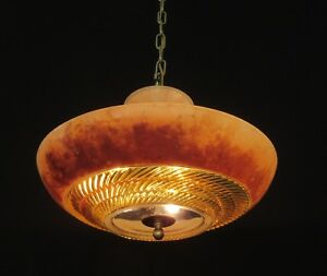 Vintage Art Deco Glass Shade Chandelier Ceiling Light Fixture Rewired Fx198