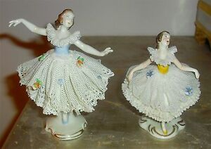 2 Fabulous Vintage Volkstedt Germany Lace Ballet Ballerina Figuri