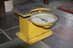 Scale Detecto Junior 1 250 Lbs Max Jacobs Bros Metal Painted Yellow Vintage