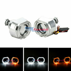 2pcs 2 5inch Hid Bixenon Lens Projector Led Angel Eyes Cover Turn Signal Lamps