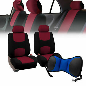 Front Bucket Seat Covers Burgundy With Seat Back Cushion Pad Blue For Auto Car