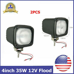 Pair 35w Led 4inch Flood Hid Xenon Light Fit Vehicle 12v Dc Lamp Toyota 4wd Suv