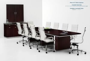 Modern 12 Foot Rectangle Conference Table With Grommets In Espresso Or Walnut