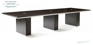 Modern 14 Foot Rectangle Conference Table With Grommets In Espresso Or Walnut