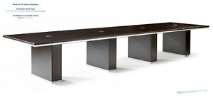 Modern 18 Foot Rectangle Conference Table With Grommets In Espresso Or Walnut